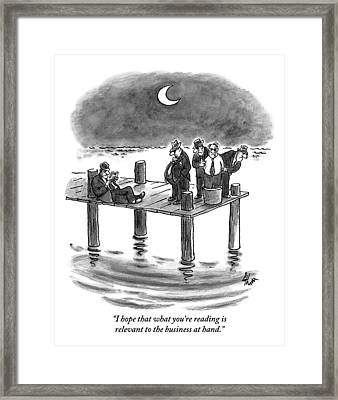 On A Pier, Three Mobsters Prepare To Drown Framed Print by Frank Cotham