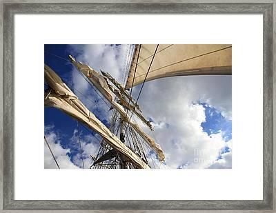 On A Sail Ship Framed Print