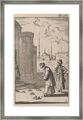 On A Square Two Turks Are Walking Towards A Mosque Where Framed Print by Caspar Luyken And Timotheus Ten Hoorn