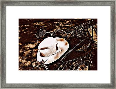 Framed Print featuring the photograph On A Steel Horse by Karen Kersey