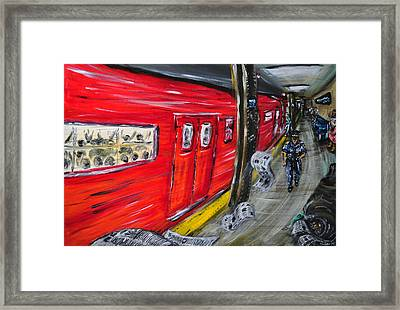On A Subway Platform Framed Print by Ka-Son Reeves