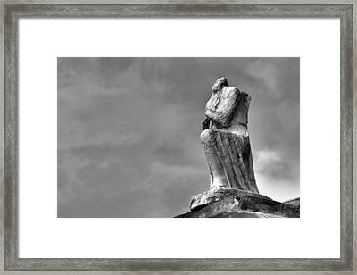 Framed Print featuring the photograph On Bended Knee In Black And White by Nadalyn Larsen