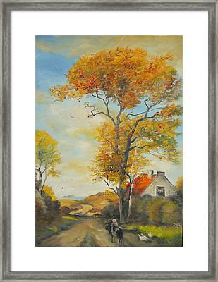 Framed Print featuring the painting On Country Road  by Sorin Apostolescu