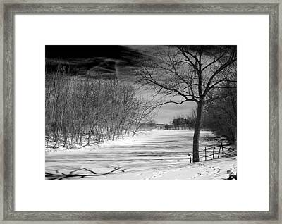 On Frozen Pond Framed Print