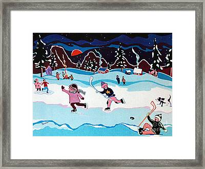 On Frozen Pond Framed Print