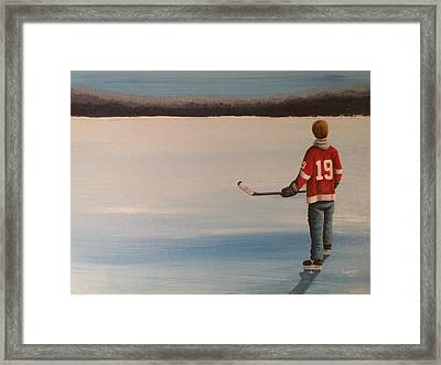 On Frozen Pond -  Stevie Framed Print