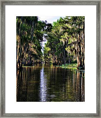 On Golden Canal Framed Print