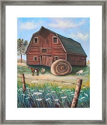 On Golden Farm Framed Print