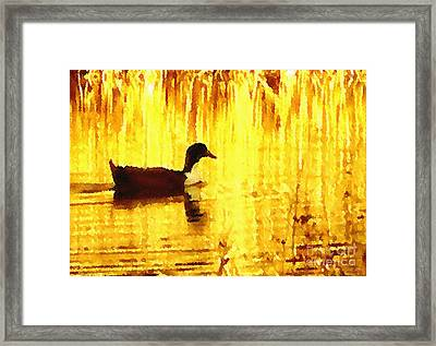 Framed Print featuring the digital art On Golden Pond by Cristophers Dream Artistry