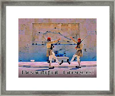 On Guard At The Athens Capitol Framed Print by John Malone