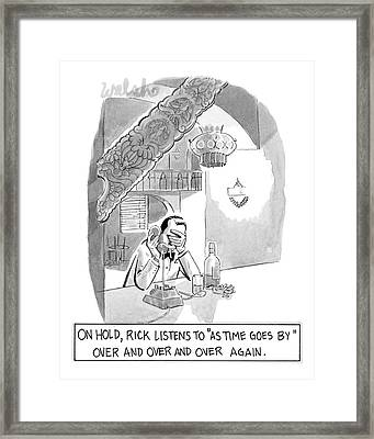 On Hold, Rick Listens To 'as Time Goes By' Framed Print by Liam Walsh