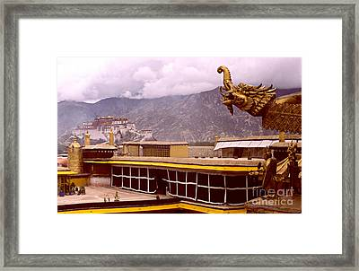 On Jokhang Monastery Rooftop Framed Print