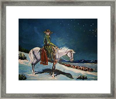 Framed Print featuring the painting On Night Herd In Winter by Al Brown