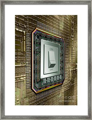 On Off Switch On Circuits Framed Print by Mike Agliolo