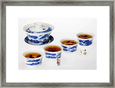 On Porcelain Ink Painting Exhibition Little People On Food Framed Print by Paul Ge