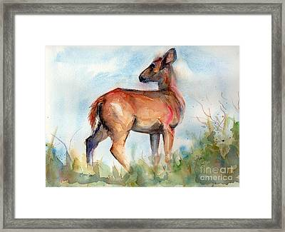 On Second Thought Framed Print by Maria's Watercolor