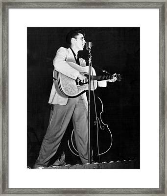 On Stage Elvis Presley Plays And Sings Framed Print