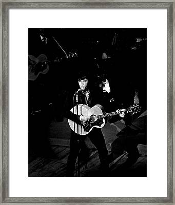 On Stage Elvis Presley Trills The Crowd Framed Print by Retro Images Archive