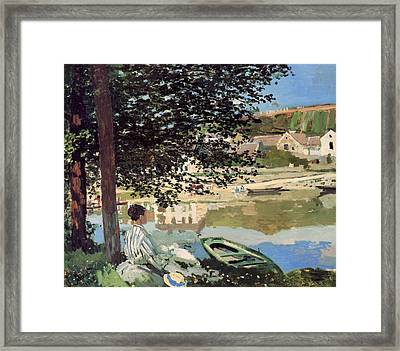 On The Bank Of The Seine Framed Print by Claude Monet