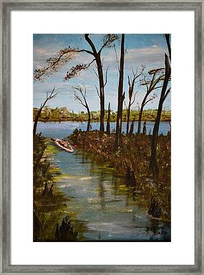 Framed Print featuring the painting On The Bayou by Debbie Baker