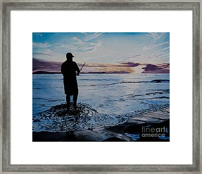 On The Beach Fishing At Sunset Framed Print by Ian Donley