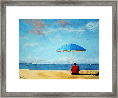 On The Beach - Special Time Framed Print by Linda Apple
