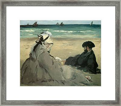 On The Beach Suzanne And Eugene Manet At Berck Framed Print by Edouard Manet