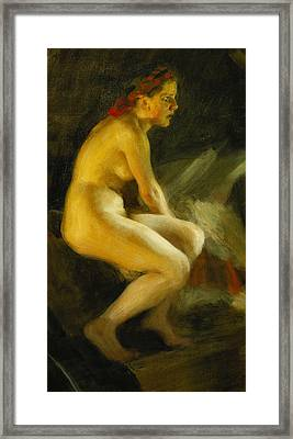 On The Bed Pa Sangkanten Framed Print by Anders Leonard Zorn