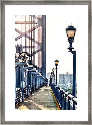 On The Ben Franklin Bridge Framed Print by Bill Cannon