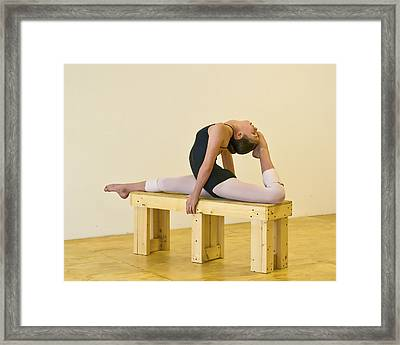 Practicing Ballet On The Bench Framed Print