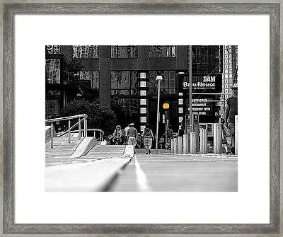 On The Boardwalk Framed Print by Valentino Visentini