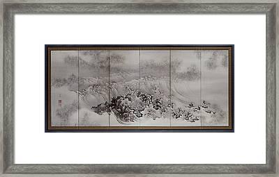 On The Coast, The Surf, Kishi Ryo, Ganryo Framed Print by Litz Collection