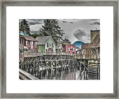 Framed Print featuring the pyrography On The Creek. by Timothy Latta