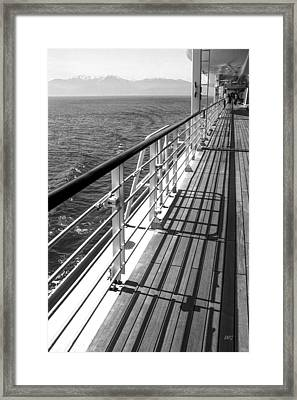 On The Cruise Ship Deck Black And White Framed Print