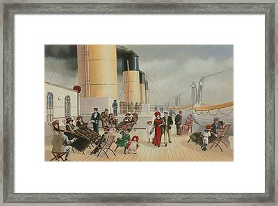 On The Deck Of The Titanic Framed Print by English School