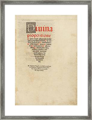 'on The Divine Proportion' (1509) Framed Print by Library Of Congress