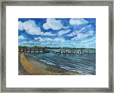 Framed Print featuring the painting On The Dock In Great Harbors by Rita Brown