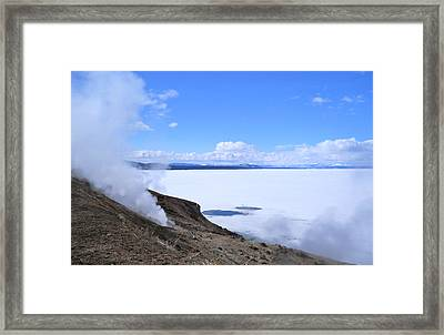 Framed Print featuring the photograph On The Edge Of Lake Yellowstone by Michele Myers