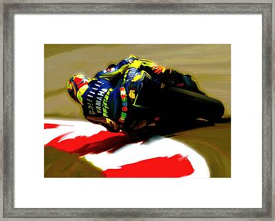 On The Edge Vi Valentino Rossi Framed Print by Iconic Images Art Gallery David Pucciarelli