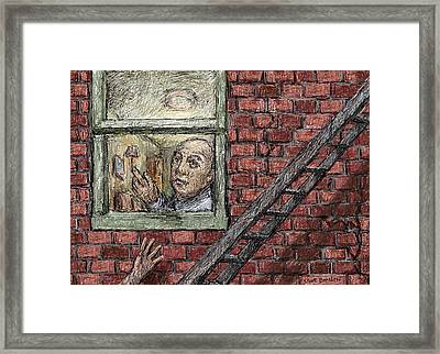 On The Fire Escape Framed Print