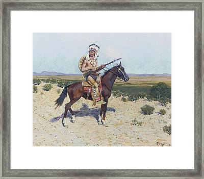 On The Firing Line Framed Print by Henry  Farny