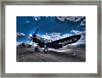 On The Flight Line.  F-4u Corsair At Reno Air Races Framed Print