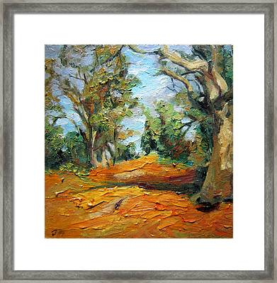 Framed Print featuring the painting On The Forest by Jieming Wang