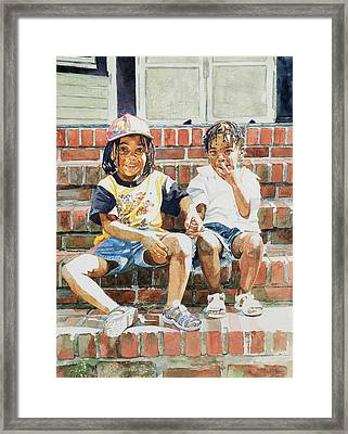 On The Front Step Framed Print