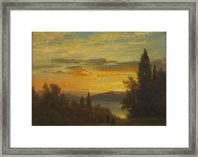 On The Hudson River Near Irvington Framed Print by Albert Bierstadt