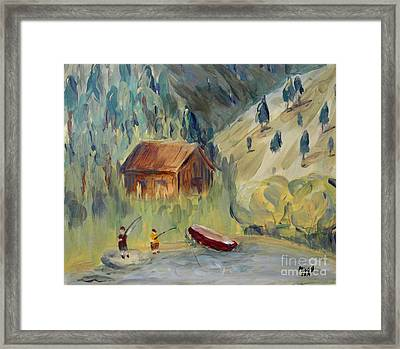 Framed Print featuring the painting On The Lake by Maria Langgle