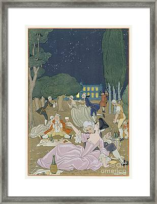 On The Lawn Framed Print by Georges Barbier