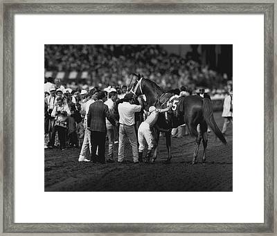 On The Line Horse Racing  Framed Print