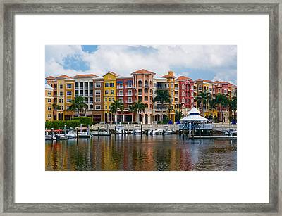 Boats And Shopping On The  Naples Waterfront Framed Print by Ginger Wakem