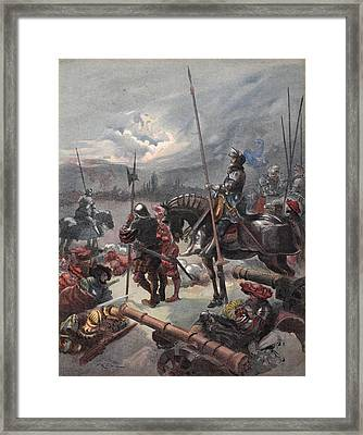 On The Night Of Marignan, Illustration Framed Print by Albert Robida